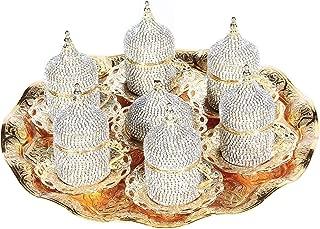 27 Pc Handmade Turkish Arabic Coffee Cup Saucer Swarovski Crystal Set (GOLD)
