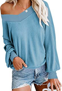 Aifer Women's V Neck Long Sleeve Waffle Knit Tops Off Shoulder Pullover Sweater