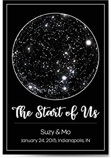Custom Personalized Star Constellation Map, Star Chart, Choose Your Font, Custom Engagement Anniversary Birthday Baby Gift, Night Sky Poster with Frame
