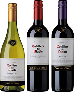 カッシェロ デル ディアブロ 3種類 飲み比べセット ( カベルネ & メルロー & シャルドネ ) 750ml 【 チリ 】