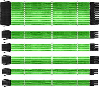 One enjoy Kit de extensión de Cable, Cable Fuente Alimentacion Modular, Conectores PSU, Cable ATX EPS PCI-E con peines, Sleeved Cables, 30 CM (Verde)