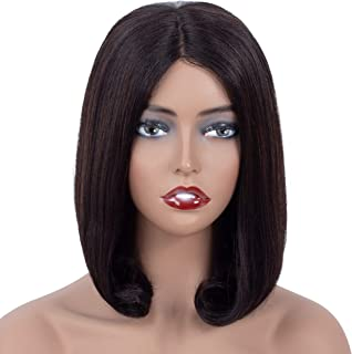 Onedor 12 Inch Short Straight Brazilian Virgin Remy Human Hair 150% Density Deep Part Lace front Bob Wigs for Women