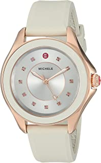 MICHELE Women's 'Cape Topaz' Swiss Quartz Stainless Steel and Silicone Casual Watch, Color:Beige (Model: MWW27A000023)