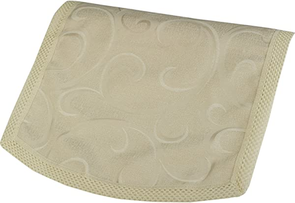 Traditional Antimacassar Chair Back With Swirl Pattern Crochet Trim Furniture Cover Cream