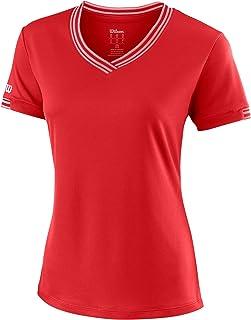 WILSON Women's V-Neck T-Shirt, W Team V-Neck, Polyester
