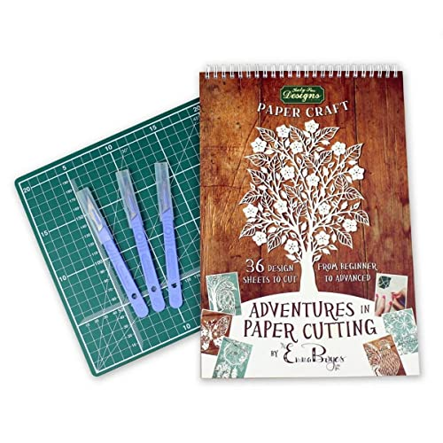 Adventures in Paper Cutting - Series One Kit - Cutting Mat, Scalpels, Papercut Templates, Designs and Patterns - Beginners Edition by Emma Boyes