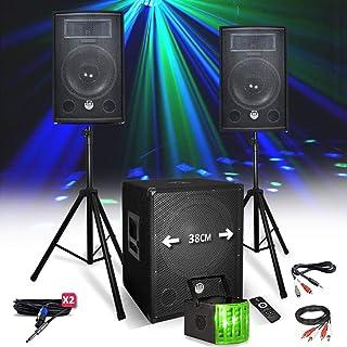 Kit PACK SONO BM SONIC 1512 2200W Enceintes - Subwoofer USB/BLUETOOTH - Pieds - Lumière DERBY