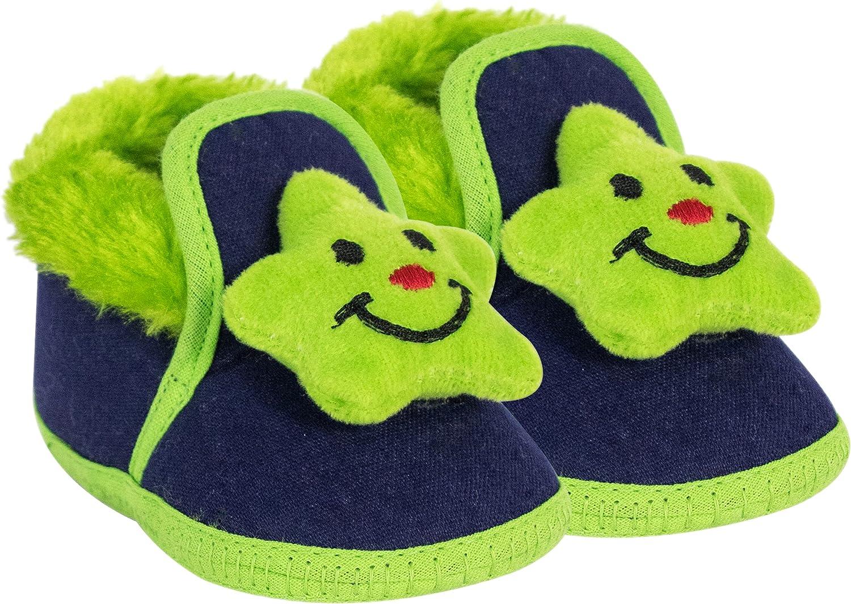 Neska Moda 6 To 9 Months Baby Boys & Girls Geometric Print Cotton Booties (Green,Dark Blue)