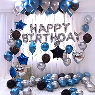 Party Propz Happy Birthday Letter Foil Balloon Set of Silver + Pack of 60 HD Metallic Balloons (Blue, Black and Silver) / ...
