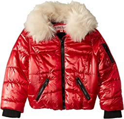 Emma Puffer Jacket w/ Cream Faux Fur Collar (Little Kids/Big Kids)