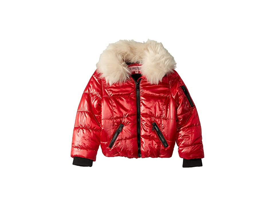 Urban Republic Kids Emma Puffer Jacket w/ Cream Faux Fur Collar (Little Kids/Big Kids) (Red) Girl