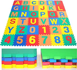 "eWonderWorld 36Piece 12"" Premium Thick Non-Toxic Kids & Toddlers Interlocking Alphabet & Numbers Floor Puzzle Foam Play Mat - Waterproof Eva Foam Tiles, Baby Mat for Crawling"