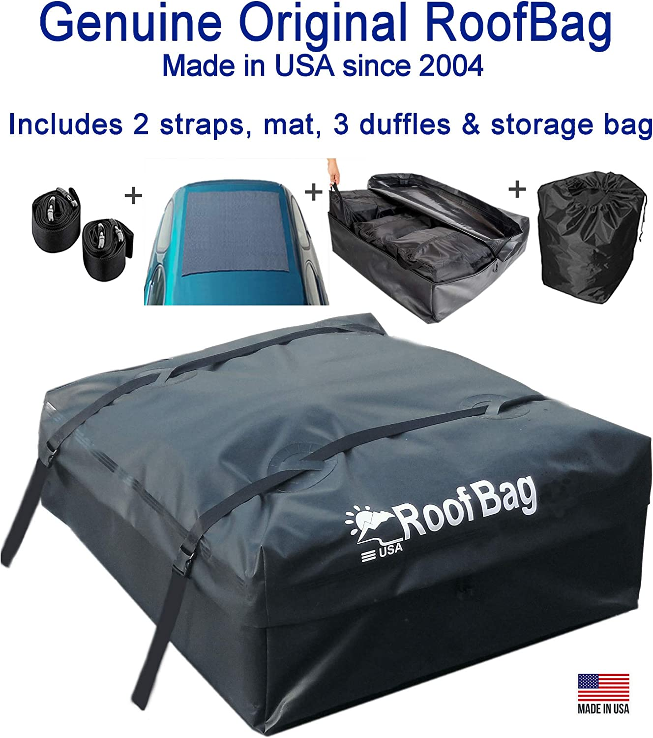 RoofBag Rooftop Cargo Carrier, Made in USA, 15 Cubic Feet. Waterproof Car Top Carrier for Cars with Racks or Without Racks Includes 2 Straps, 3 Liner Bags, Roof Protective Mat, Storage Bag : Automotive