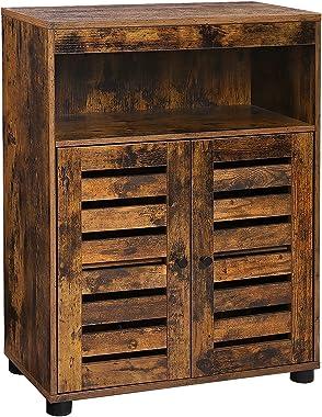 VASAGLE Bathroom Storage Cabinet, Cupboard with Louvered Doors, Rustic Design, Open Compartments, Adjustable Shelf, 23.6 x 11