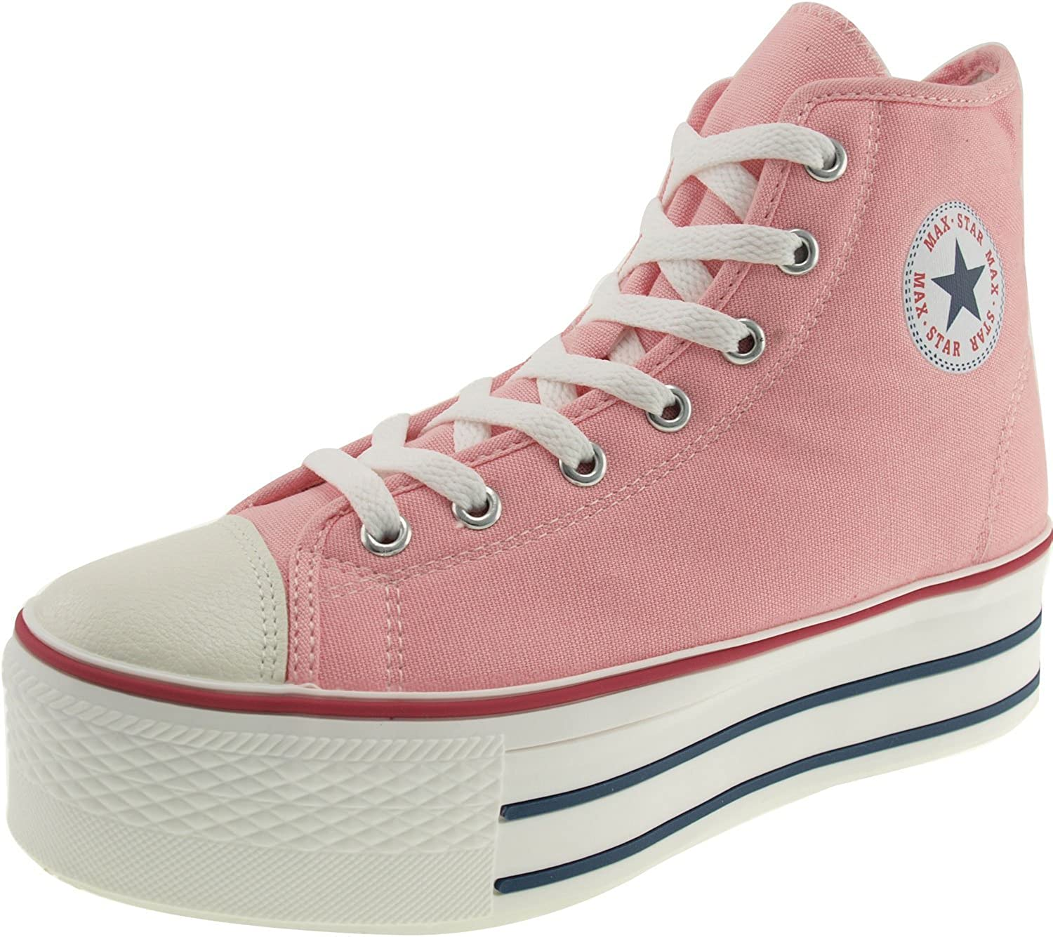 Maxstar High-top Zipper Platform Canvas Sneakers shoes Pink 10 B(M) US Womens