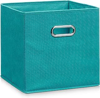 Zeller 14138 - Caja de almacenaje de tela plegable 28 x 28 x 28 cm color petróleo