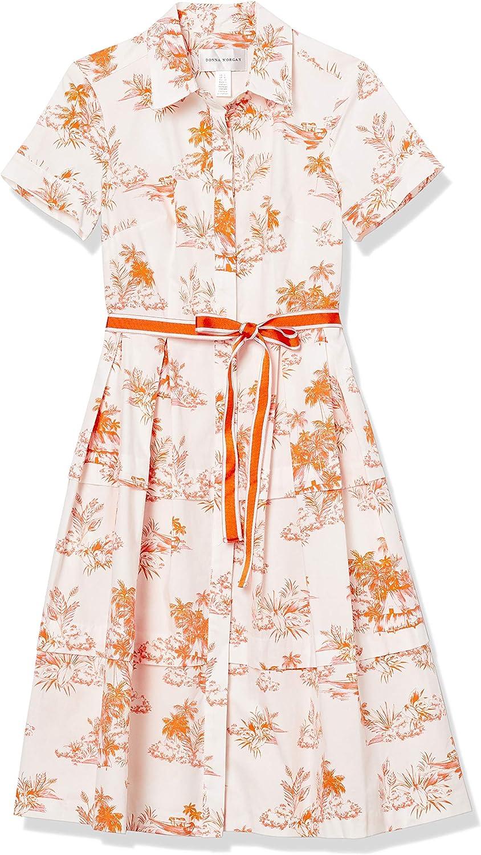 Donna Morgan Women's Petite Short Sleeve Stretch Cotton Poplin Shirt Dress