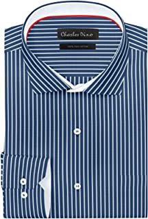 Charles Dino Men's Blue with White Striped Formal Cotton Shirt