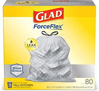 Glad Tall Kitchen Drawstring Trash Bags – ForceFlexPlus 13 Gallon White Trash Bag, OdorShield – 80 Count (Packaging may vary)