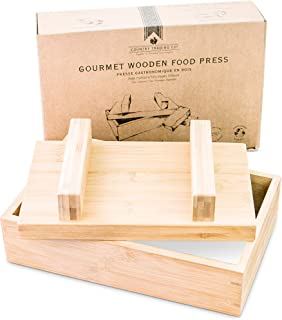 Gourmet Wooden Food Press for Making Tofu Cheese and Oshizushi - Plastic Free Presser to Remove Water and Mold Large Homem...