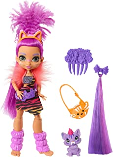 Cave Club Roaralai Doll 10-inch, Purple Hair Poseable Prehistoric Fashion Doll with Dinosaur Pet and Accessories, Gift for 4 Year Olds and Up [Amazon Exclusive]