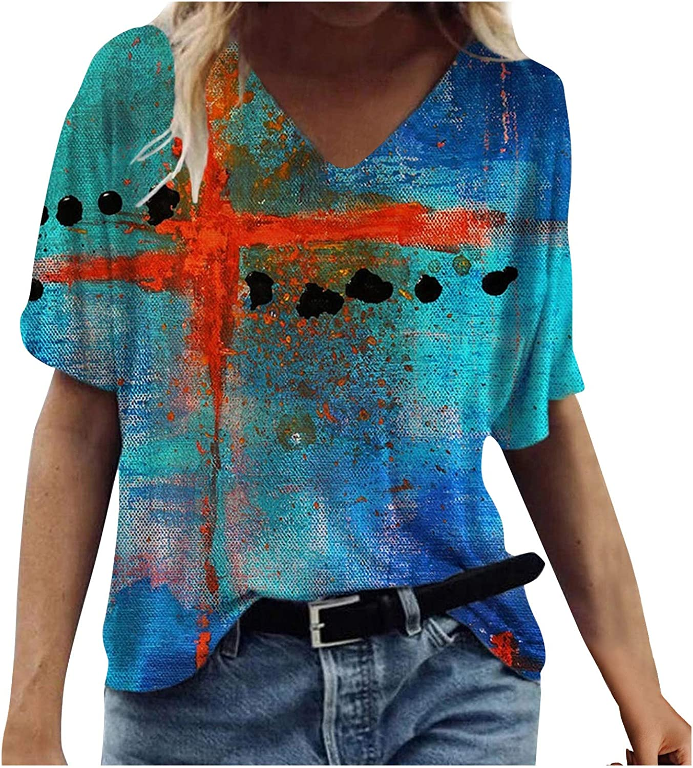 AODONG Funny Tees for Women, Summer Shirts for Women Daisy Print V Neck T-Shirt Fashion Tees Causal Loose Tunic Blouses