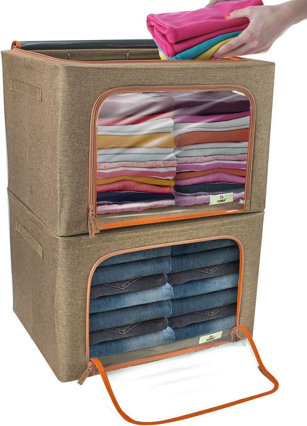 Sorbus Storage At the price of surprise Bins Foldable Stackable Store Container Organizer Set