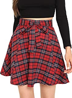 Women A line Pleated Skater Skirts Cheerleader High Waist Plaid Flared