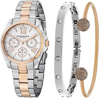 Stuhrling Original Women's Silver Dial Stainless Steel Band Watch & Bracelet Set - SET_494.03_B2R_B3S