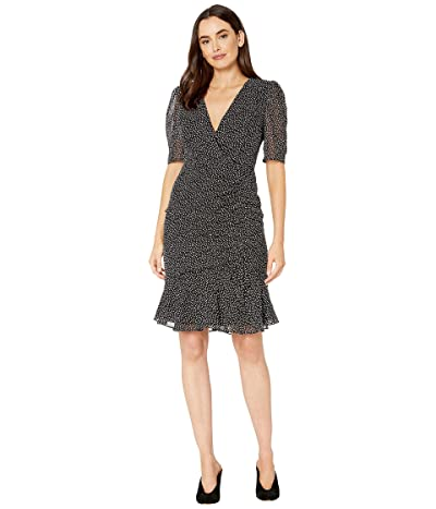 Adrianna Papell Darling Dot Printed Dress with Shirring Details (Black/Ivory) Women