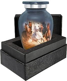 Trupoint Memorials Running Free Horses Small Keepsake Urns for Human Ashes - Qnty 1 - A Beautiful Horse Themed Keepsake Sh...