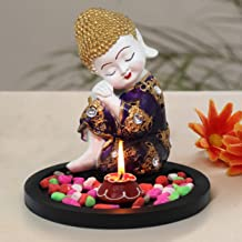 TIED RIBBONS Buddha Decorative Showpiece Statue Figurine with Tray and Stones for Living Room Home Office Table Decoration...