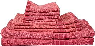 Eurospa Set of 8 Cotton Bath + Hand + Face Towel Set Pink (SPDHFCB158PNM8)