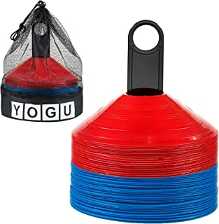 YOGU 敏捷足球锥,带携带袋和支架,适用于儿童训练运动足球篮球 50 个灵活健身圆盘锻炼场标锥