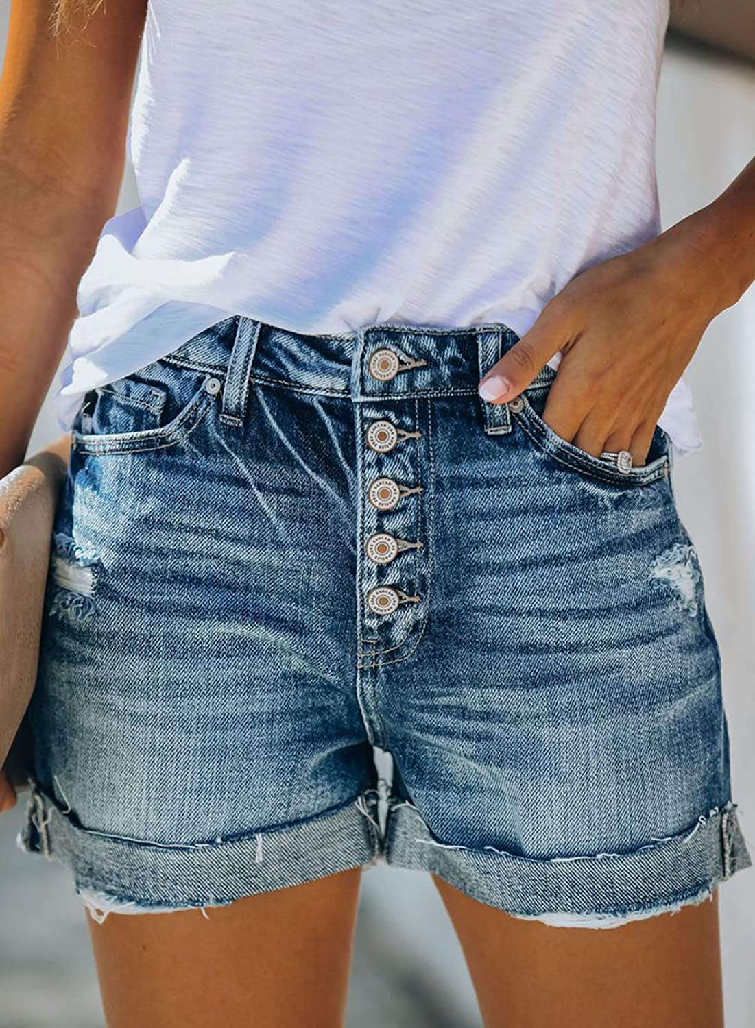 Sidefeel Women Mid Rise Distressed Cuffed Rolled Hem Casual Denim Jeans Shorts
