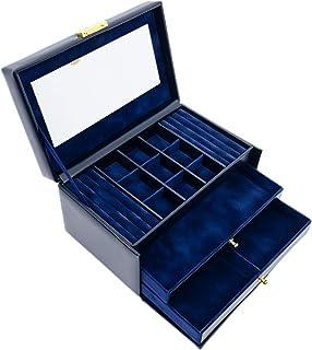 صندوق المجوهرات | منظم مجوهرات من الجلد الطبيعي | علبة تخزين للمفاتيح باللون الأزرق الداكن للنساء - مقاومة الوقت