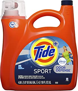 Tide Plus Febreze Sport Active Fresh Scent HE Turbo Clean Liquid Laundry Detergent, 3700087518,72 Loads 138 oz