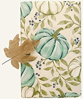 Vinyl Tablecloth Soft White and Blue Pumpkin Patch on a Cream Background and a Burlap Wired Leaf - Flannel Backing (52