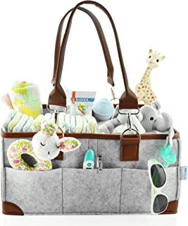 Baby Diaper Caddy Organizer - Portable Storage Basket - Essential Bag for Nursery, Changing Table and Car - Good for Storing Diapers, Bottles, Baby Wipes, Baby`s Toys Pacifiers-Gray Leather Handle