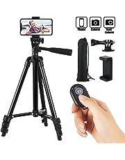 HITSLAM 3WAY 三脚 スタンド三脚・ビデオカメラ・スマホ・アイフォン・カメラ・スタンド・カメラスタンド, 超軽量アルミホルダー・一眼レフ・アイフォン・iPhone, 約34〜106cm4・段階収縮・360回転, Bluetooth・収納袋付き・水準器付き, 撮影・記念撮影・動画・ユーチューブ/黒