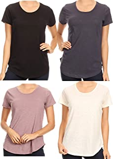 Women's 4 Pack Short Sleeve Casual Loose Cotton T Shirt Top Tops Blouse S-3XL