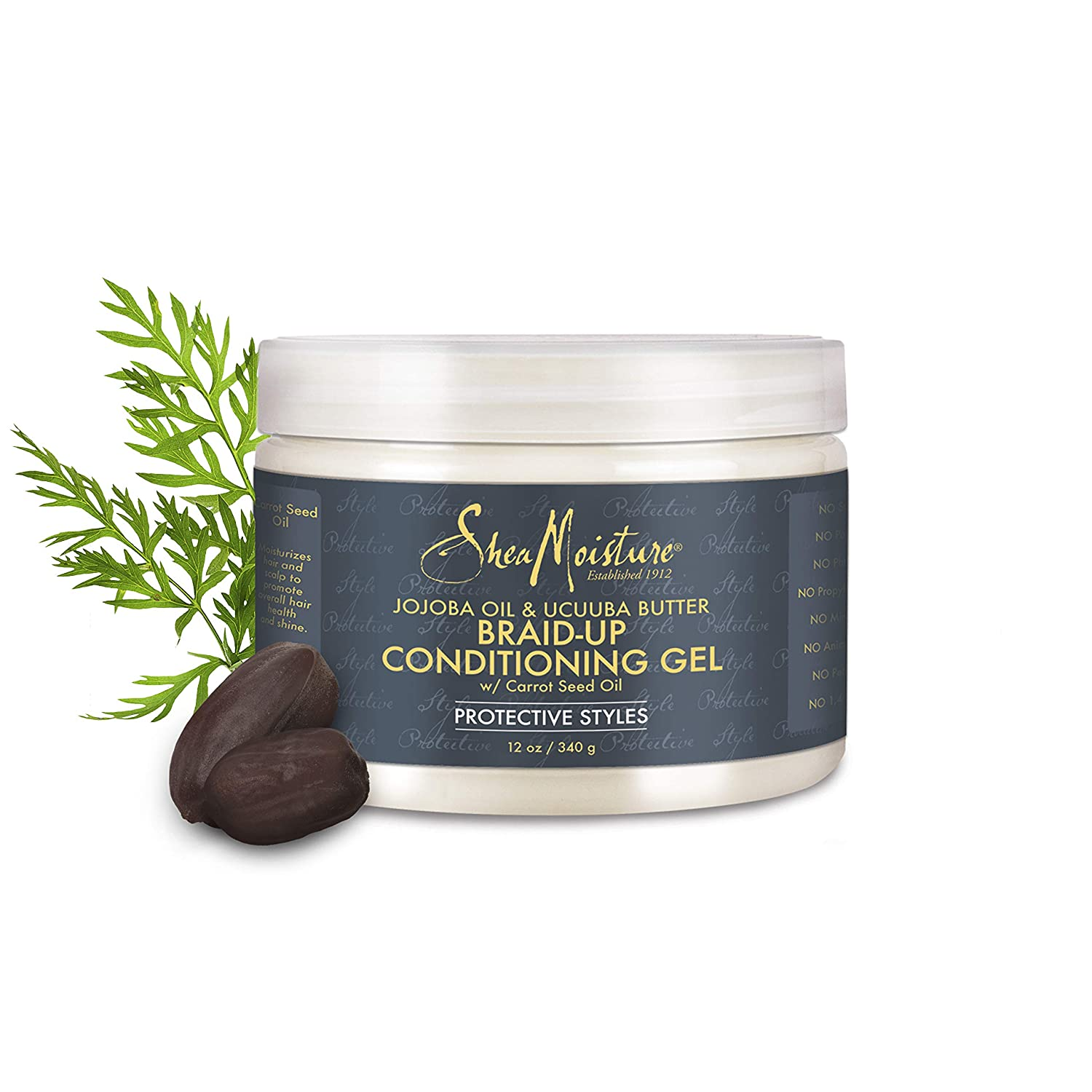 Shea Moisture Jojoba Oil & Ucuuba Butter Braid Condition Gel With Carrot Seed Oil, 12 Pound