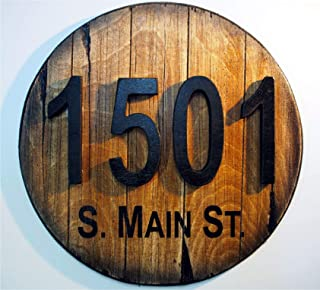 Custom Address Plaque Inspired by Old Wine & Whiskey Barrels, Rustic House Address Signs, Made of Distressed Wood, House Numbers, Address Sign, Cabin, Cottage, Housewarming Gift