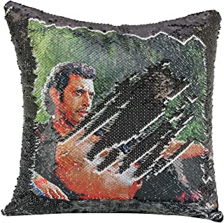 Merrycolor Sequin Pillow Cover Jeff Goldblum Magic Reversible Mermaid Throw Pillow Cover for Couch Decorative Cushion Cover Funny Pillow Gifts 16 x 16 Inches (Black)
