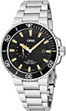 Oris Aquis Small Second Date Mens Stainless Steel Automatic Diver Watch - 45mm Analog Black Face 500M Waterproof Dive Watch - Metal Band Swiss Luxury Diving Watch For Men 743 7733 4159