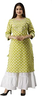 UrbanEra Women's Pure Cotton Printed Green Kurta with Palazzo Set
