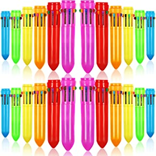 Frienda 24 Pieces 10-in-1 Retractable Ballpoint Pens Multicolor Pens Colorful Retractable Mini Shuttle Pens for Office Sch...