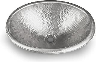 Monarch Abode Hand Hammered Satin Nickel Oval Bathroom Drop-in Sink
