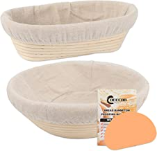 2 Sets Round & Oval Banneton Bread Proofing Basket, DeeCoo 10 Inch Baking Bowl + Dough Scraper + Cloth Liner , Natural Rat...