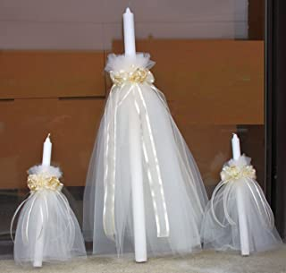 FavorOnline Religious Greek Orthodox Candles - Lambatha/Lambada Candles Set of 3